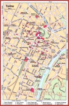 Карта Турина с достопримечательностями
