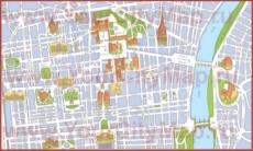 Туристическая карта центра Турина с достопримечательностями