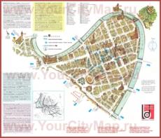 Туристическая карта центра Вероны с достопримечательностями