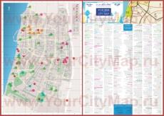 Подробная туристическая карта города Бат-Ям с отелями и достопримечательностями