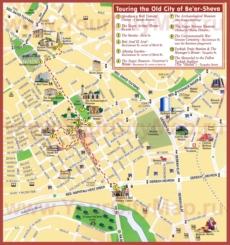 Карта Беэр-Шевы с достопримечательностями