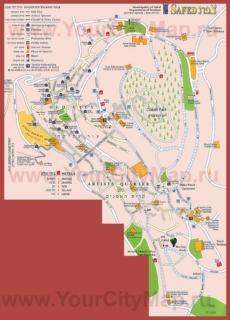 Подробная туристическая карта города Цфат с отелями и достопримечательностями