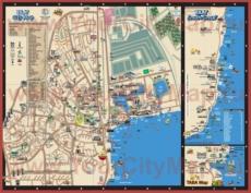 Подробная туристическая карта Эйлата с отелями и достопримечательностями