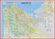 Подробная туристическая карта города Хайфа с отелями и достопримечательностями