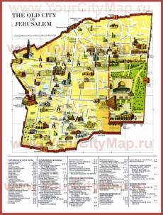 Карта старого города Иерусалима с достопримечательностями