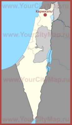 Кармиэль на карте Израиля