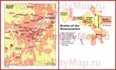 Подробная туристическая карта города Назарета с достопримечательностями