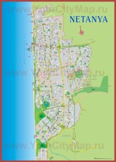 Подробная туристическая карта города Нетания с отелями