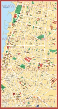 Отели и достопримечательностями на карте Тель-Авива