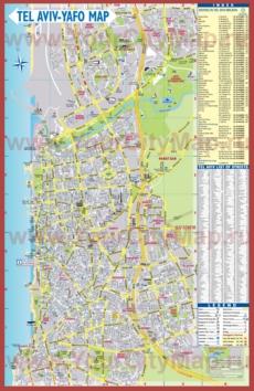 Подробная туристическая карта города Тель-Авив с улицами и отелями