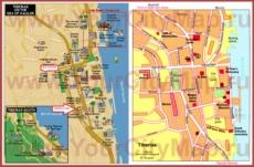 Подробная туристическая карта города Тверия с отелями и достопримечательностями