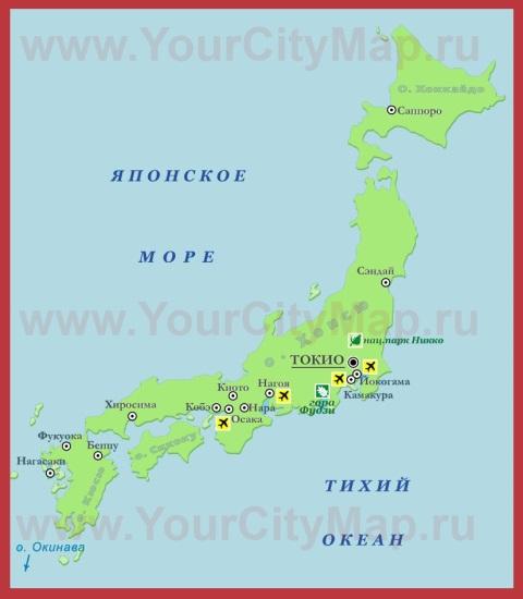 Города Японии на карте