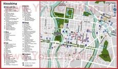 Подробная карта города Хиросима с достопримечательностями