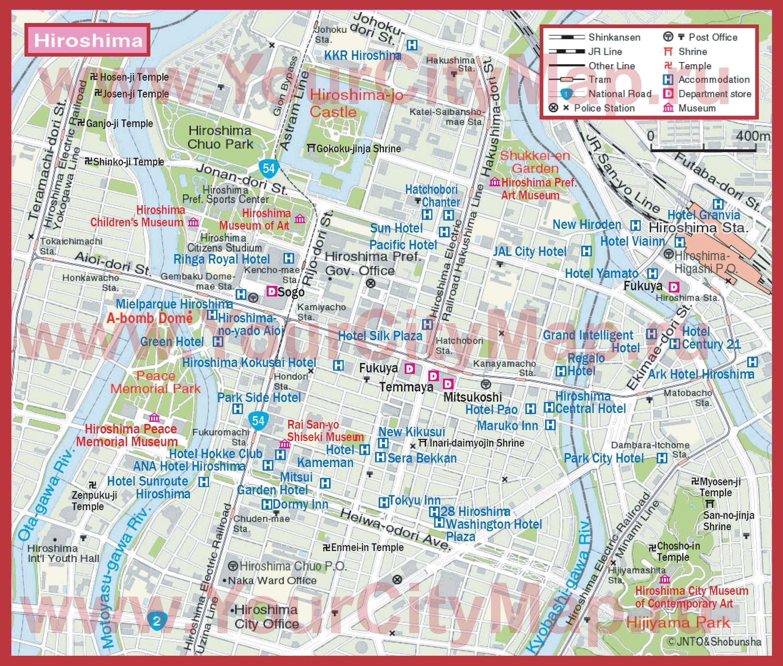 Туристическая карта хиросимы с