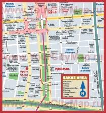 Туристическая карта центра Нагои с отелями