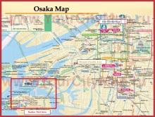 Подробная карта Осаки
