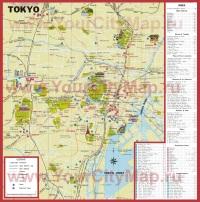 Туристическая карта Токио с достопримечательностями