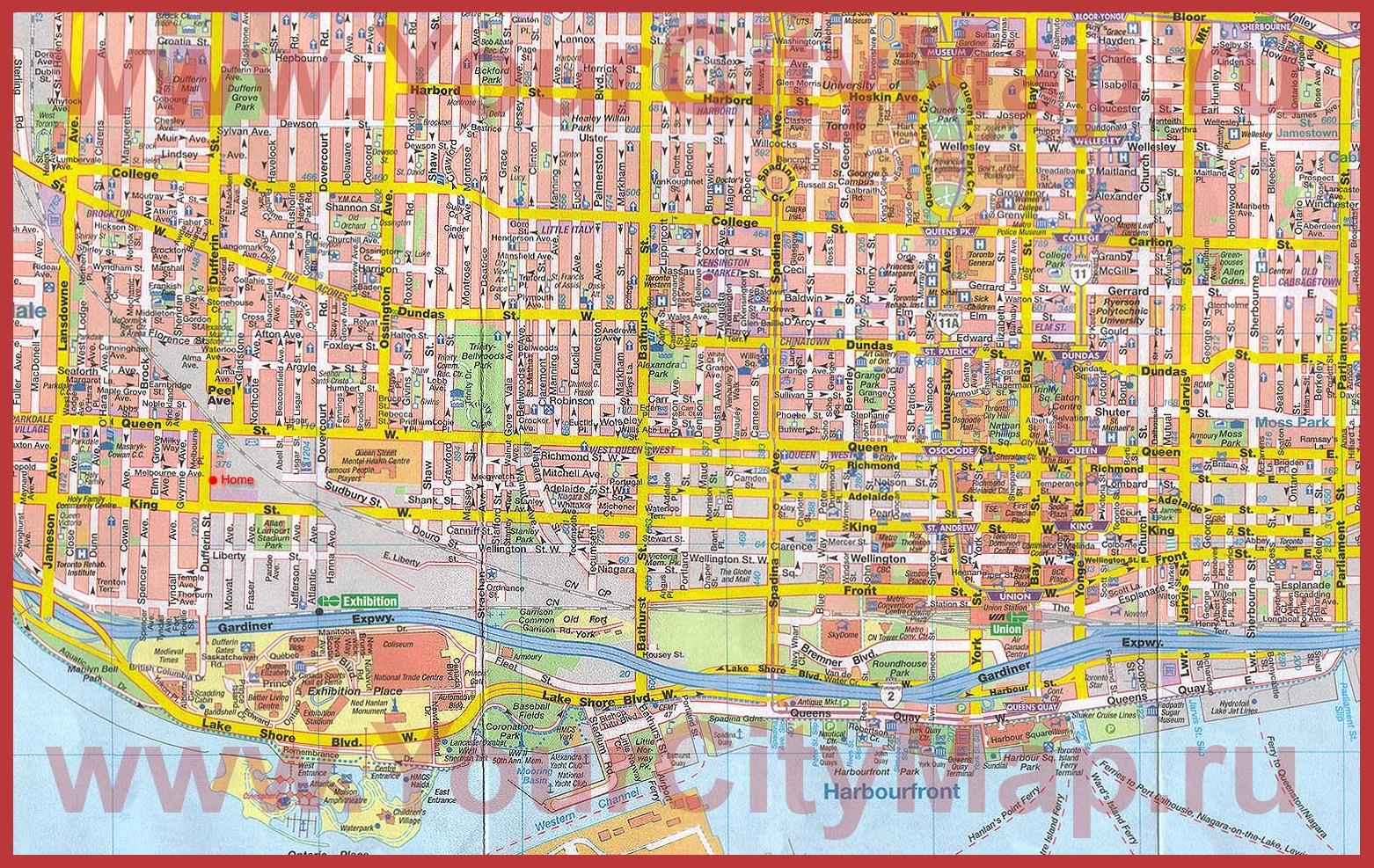 Подробная карта города Торонто: http://yourcitymap.ru/kanada/karta-toronto/podrobnaya-karta-goroda-toronto.shtml
