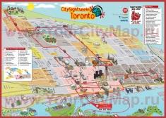 Туристическая карта Торонто с достопримечательностями