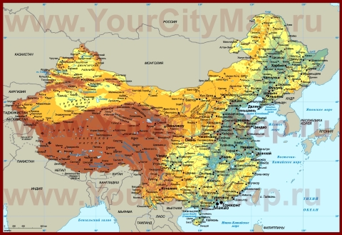 Города Китая на карте
