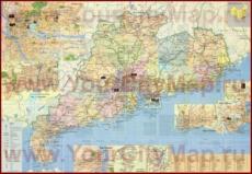 Карта окрестностей Гуанчжоу с достопримечательностями