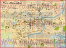 Туристическая карта Шанхая с магазинами и ресторанами