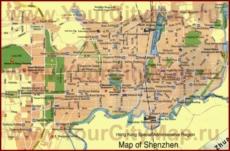 Туристическая карта Шэньчжэня с отелями и достопримечательностями