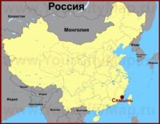Сямынь на карте Китая