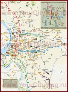 Карта метро Тайбэя с достопримечательностями