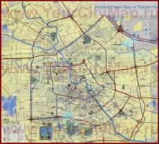 Подробная туристическая карта города Тяньцзинь