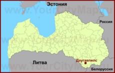 Даугавпилс на карте Латвии