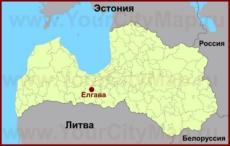 Елгава на карте Латвии