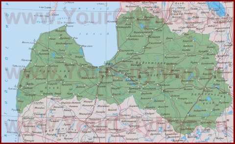 Города Латвии на карте