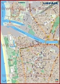 Карта центра Лиепаи с отелями