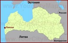 Лиепая на карте Латвии