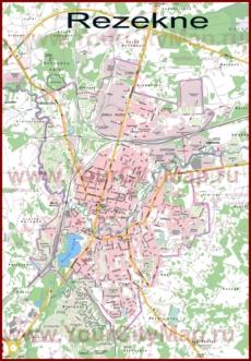 Подробная туристическая карта города Резекне с отелями и достопримечательностями