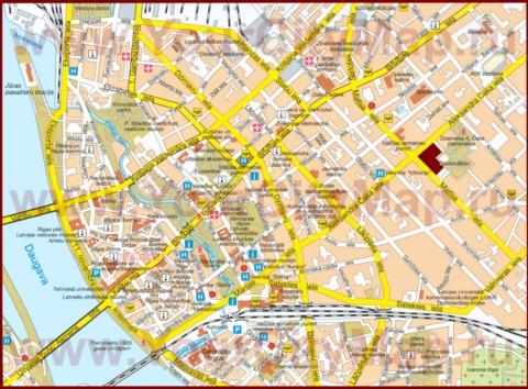 Карта центра Риги с отелями и достопримечательностями