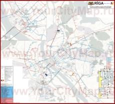 Карта маршрутов транспорта Риги