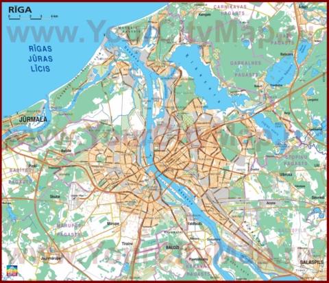 Карта Риги с окрестностями