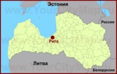 Рига на карте Латвии