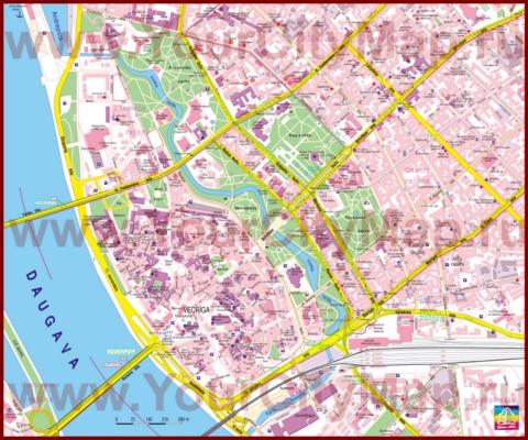 Туристическая карта Риги с отелями и достопримечательностями
