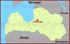 Сигулда на карте Латвии