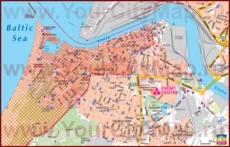 Карта Вентспилса с отелями и достопримечательностями
