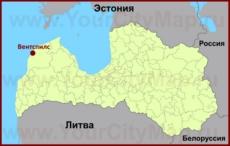 Вентспилс на карте Латвии