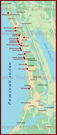 Карта отелей Юрмалы