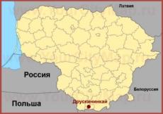 Друскининкай на карте Литвы