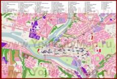 Карта Каунаса с отелями, достопримечательностями, ресторанами и барами