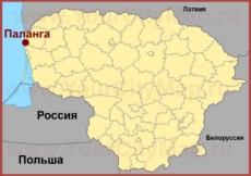 Паланга на карте Литвы