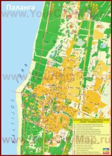 Подробная туристическая карта города Паланга