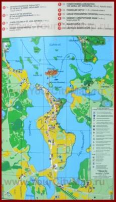 Туристическая карта Тракая с отелями и достопримечательностями